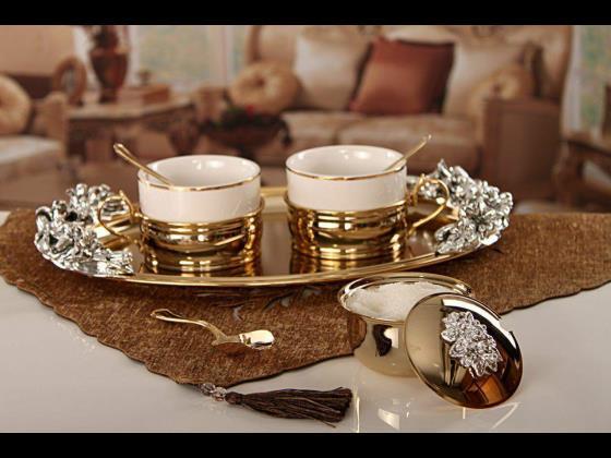 ست قهوه خوری با سینی آب طلا اصل ایتالیا  ۴۵۹۶۰۰۰ریال