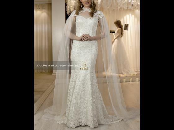 لباس عروس ماهی تمام دانتل با شاین همرنگ